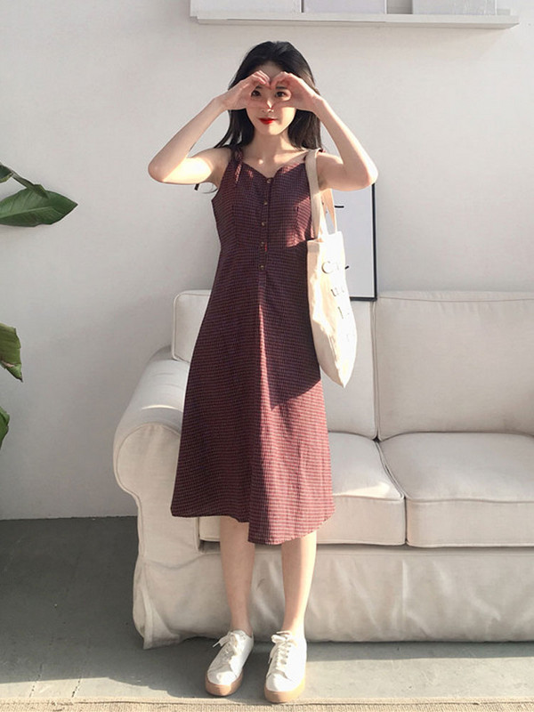 2020 summer new vintage suspender skirt small fresh Plaid Dress beach skirt seaside holiday women summer trend