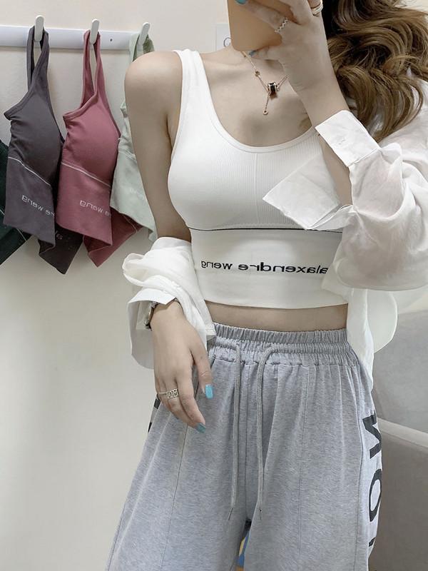 2020 summer new Korean version top letter printing short navel exposed, light proof and vest suspender