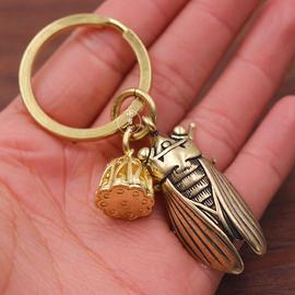 纯黄铜一鸣惊人创意金蝉知了挂件吊坠男女汽车钥匙扣吊坠配件包邮