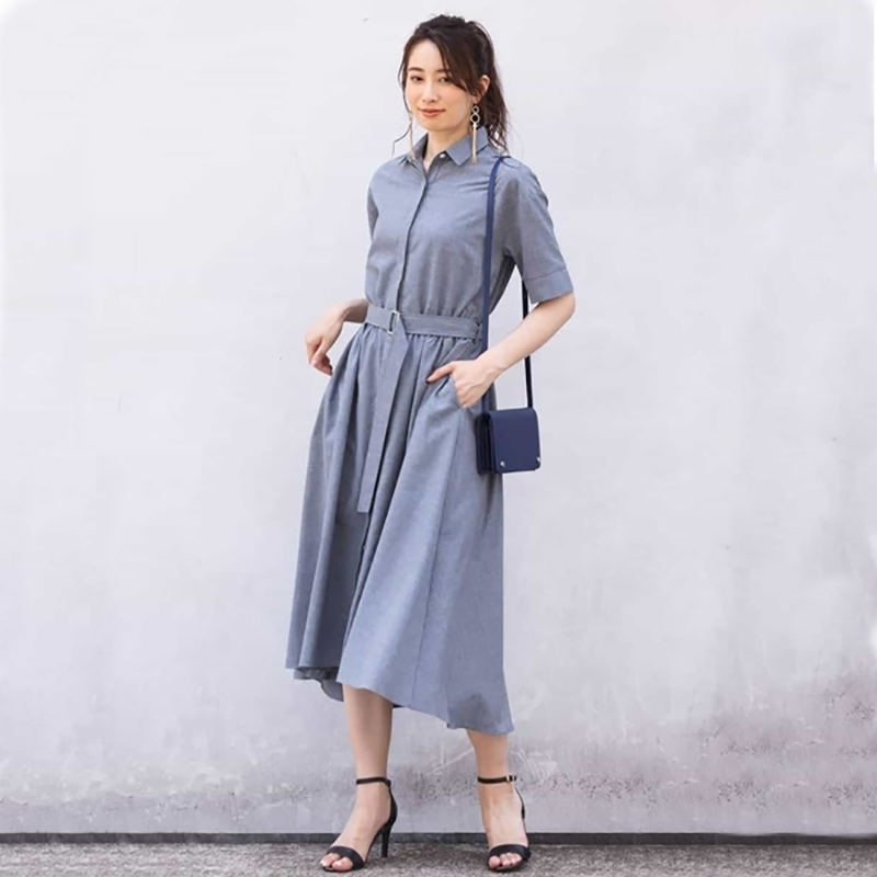 Womens short sleeve shirt dress with elastic belt over the knee, super long, grey, coffee, solid button, high waist, simple