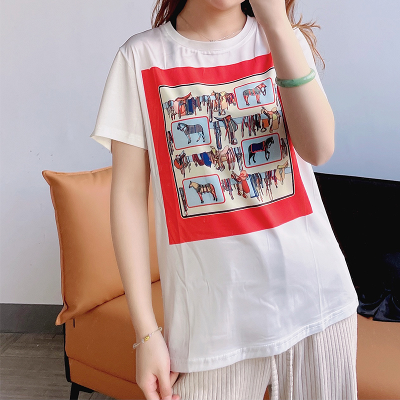 2021 summer white silk top T-shirt womens short sleeve mulberry silk printing fashion foreign style vest tide versatile white