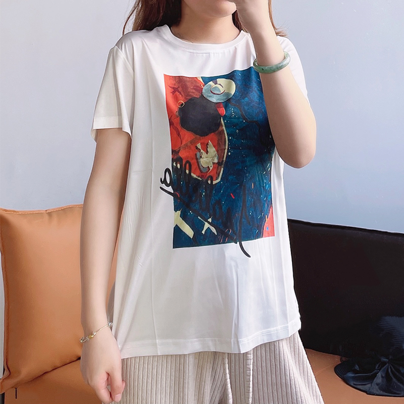 2021 summer heavy silk top T-shirt womens short sleeve mulberry silk printing fashion foreign style vest tide versatile white
