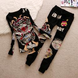 春秋季新品欧美潮品女士时尚休闲运动套装老虎头个性韩版洋气套装