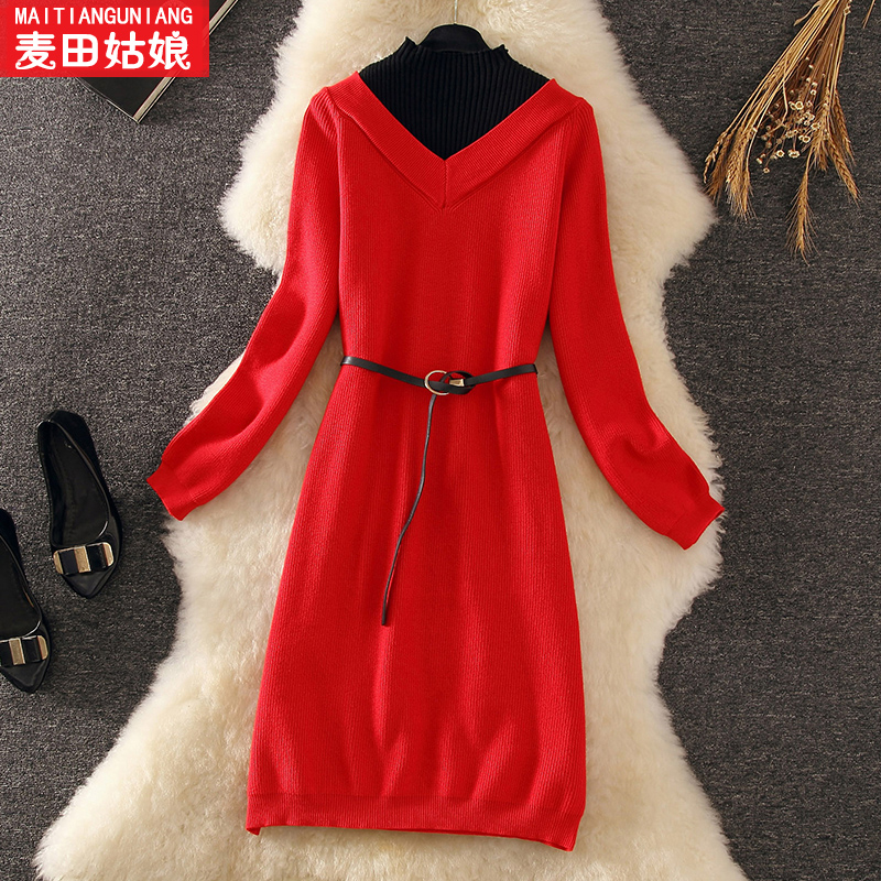 Maidens knitting dress autumn dress 2019 new Korean medium length high neck sweater skirt Fairy
