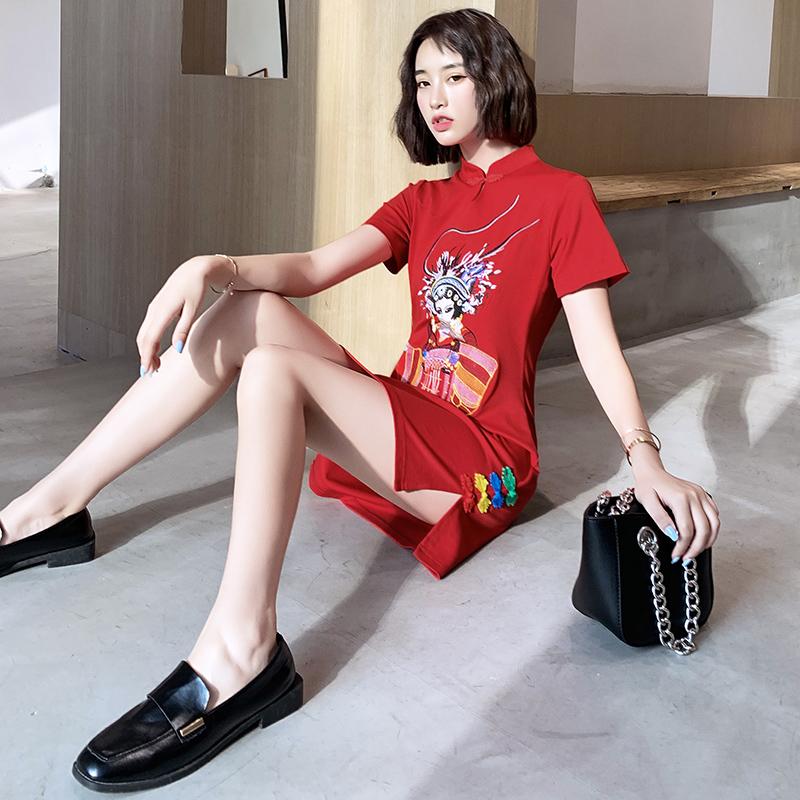 旗袍连衣裙国潮短款夏季现代复古红色小个子改良年轻款少女中国风