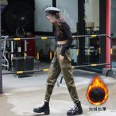 黑色工装裤女春秋加绒束脚加厚显瘦高腰小个子宽松休闲裤2020新款