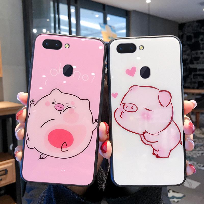 网红同款卡通粉色小猪oppoR17手机壳pro玻璃R15X镜面R15梦境版opp12月02日最新优惠