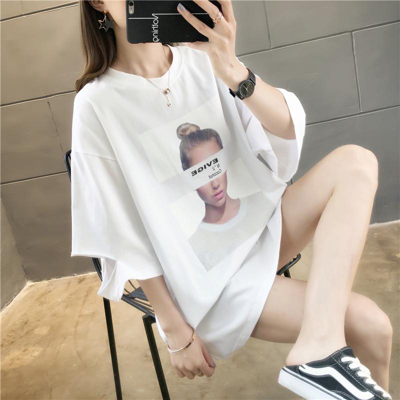 实拍65涤纶 35棉中长款韩版宽松印花破洞短袖T恤女