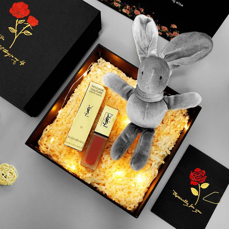 YSL圣罗兰杨树林口红女礼盒装唇釉限量409豆沙姨妈色407套装套盒图片