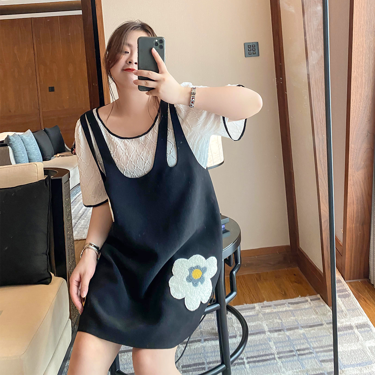 豆腐小姐大码女装胖mm背带裙显瘦减龄小心机连衣裙2020年夏季遮肚