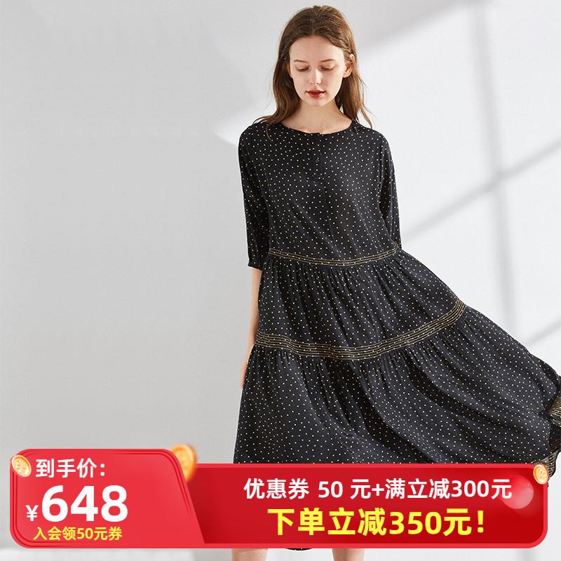 大牌重磅杭州真丝连衣裙女春夏2021新款桑蚕丝波点黑色气质长裙子