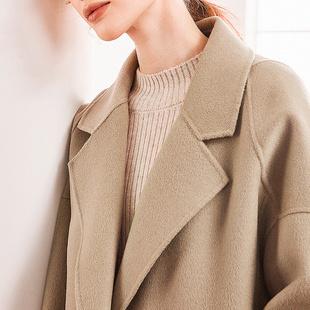 反季双面羊绒大衣女中长款2020高端黑色呢子大码秋冬年轻毛呢外套品牌