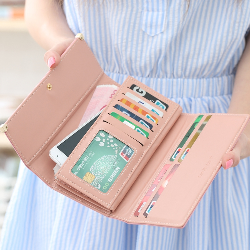 Wallet New Girl mobile phone bag with all kinds of pink folding wallet womens long girl wallet card bag in red