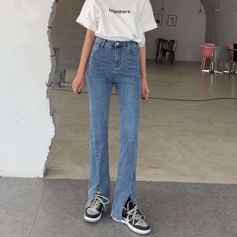 蓝色高腰弹力前开叉女宽松牛仔裤质量好不好