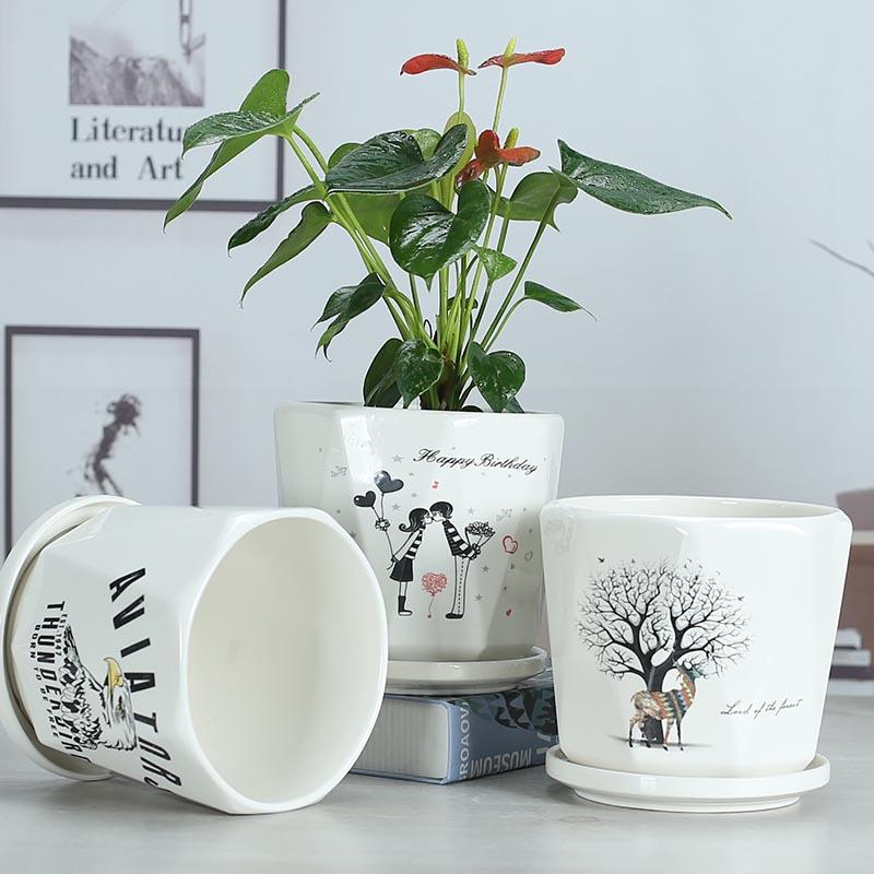 高白色花盆陶瓷大号清仓北欧简约创意个性带托盘家用阳台客厅绿萝
