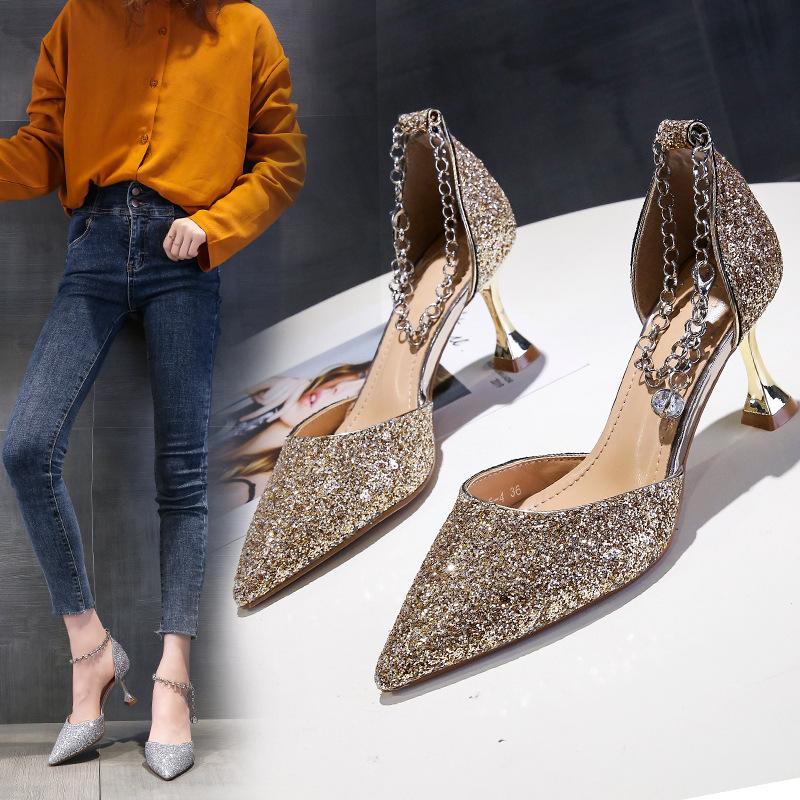 高跟鞋女2020夏新款网红百搭尖头细跟法式少女一字带凉鞋中空单鞋