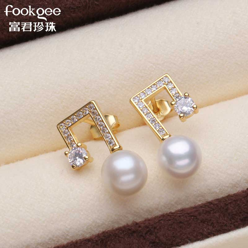 Natural freshwater pearl S925 silver accessories fashion music symbol Pearl Earrings customized anti allergy temperament Korea