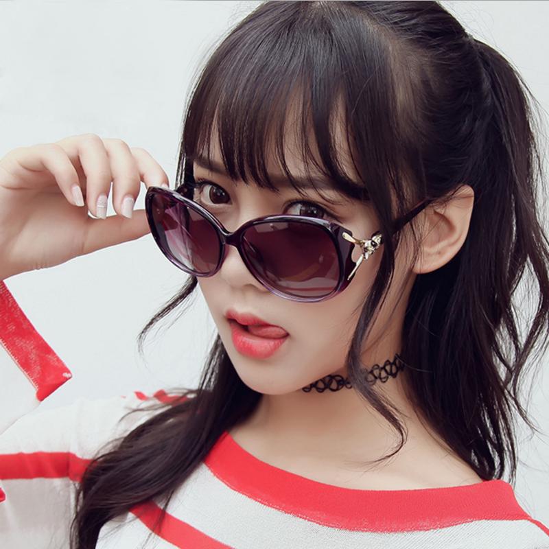 2021 new polarizing sunglasses womens trendy big frame round face long face elegant Sunglasses net red driving glasses