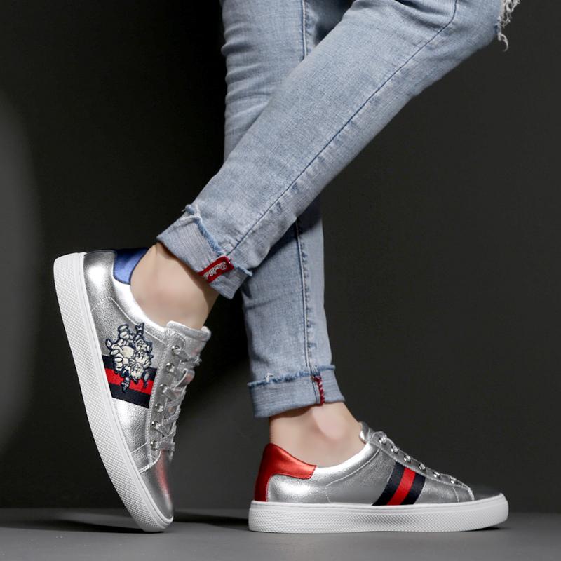 男鞋真皮板鞋银色秋冬季新款男潮鞋透气新款韩版潮流欧洲站鞋子男