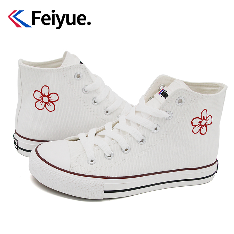 Feiyue / Flying canvas shoes female doodle hand-painted shoes to send you a small red flower 2021 new small white shoes