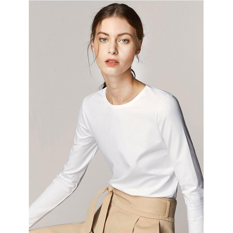 西班牙高端基础纯白色T恤女长袖修身圆领内搭显瘦不透纯棉打底衫