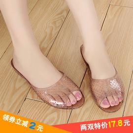 夏季新款浴室拖鞋女水晶果冻凉鞋家居室内拖女塑料橡胶防滑妈妈鞋图片