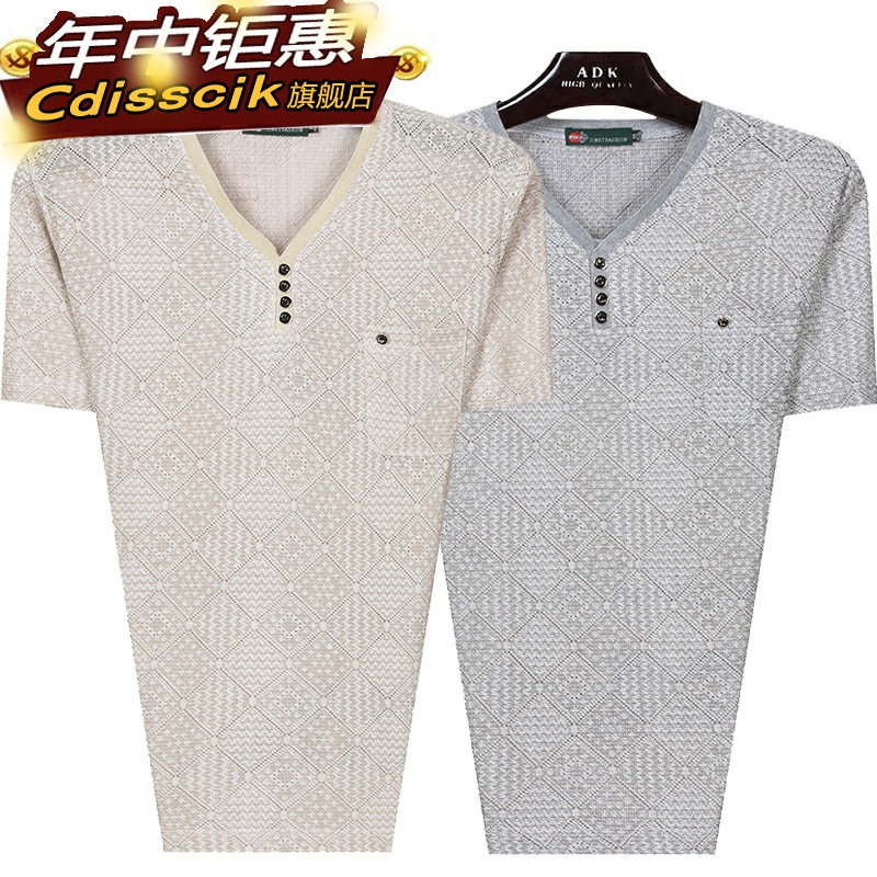 Middle aged mens clothes 40-50 years old fathers summer clothes 45 noon mens Linen V-neck short sleeve T-shirt