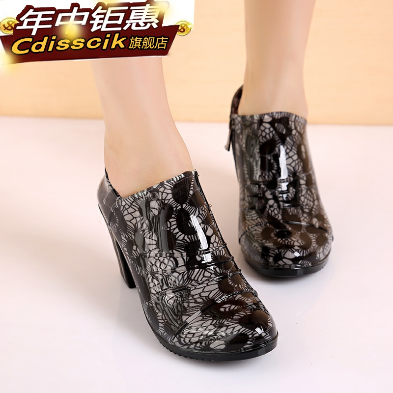 Waterproof rain shoes antiskid tide jelly color womens short tube Korean high-heeled spring and autumn rain boots parcel mail cover shoes water shoes fashion