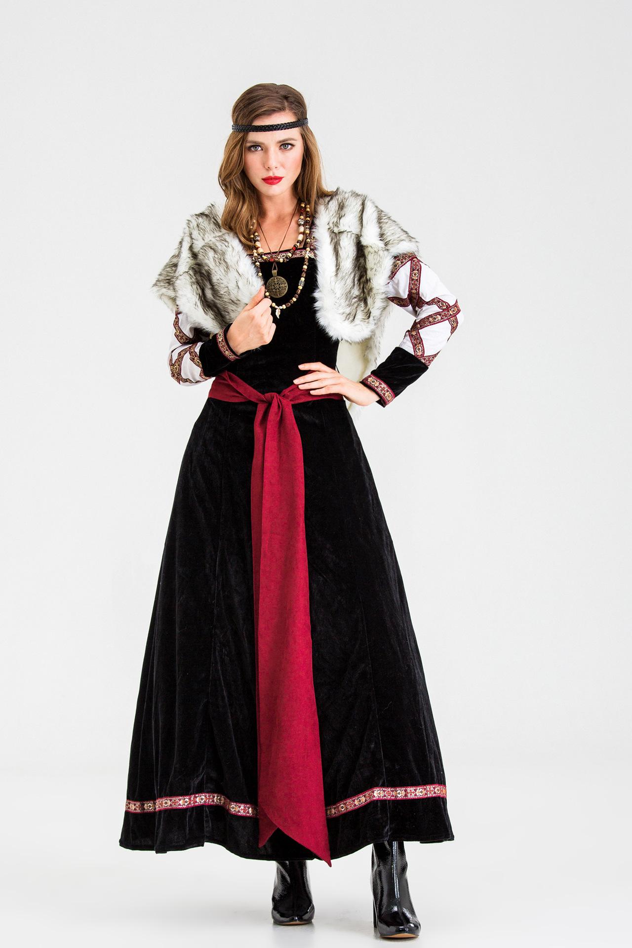 海盗cosplay角色扮演服装野人服万圣节成人战士服装连衣裙女