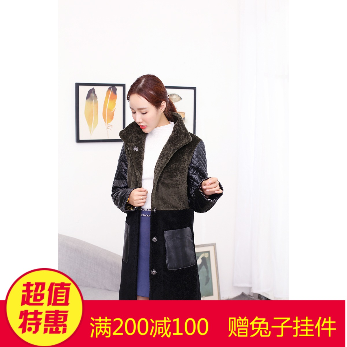 2017 новая коллекция кожа с мехом овечья шерсть пальто Резка овец фасон средней длины стиль шуба куртка Женский хлопок овчина гильза