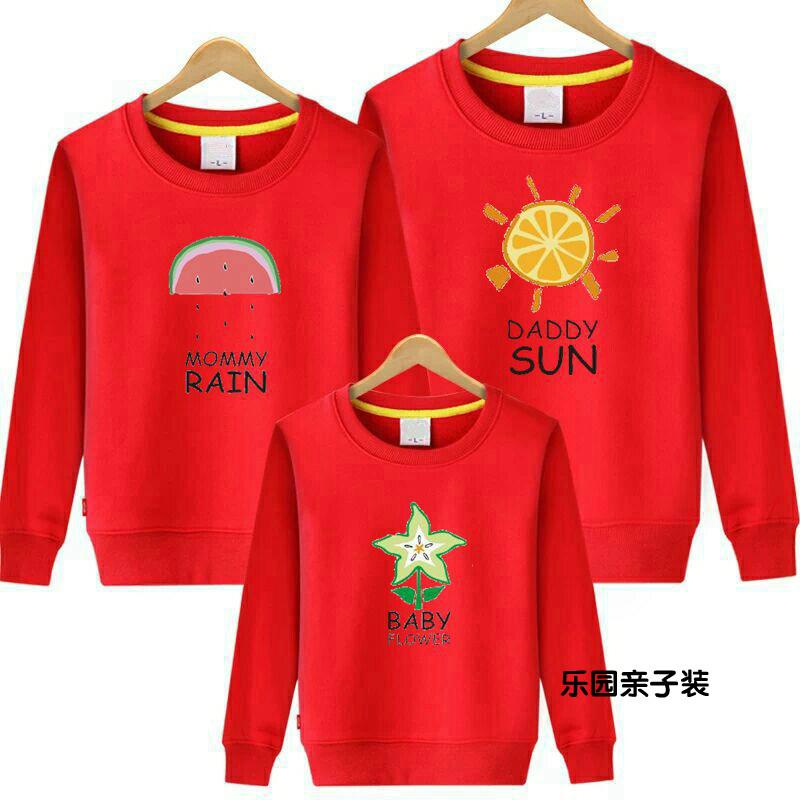 亲子装春秋装红色圆领卫衣2019款一家三口母女母子全家装外套上衣