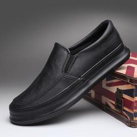 宝达防水二棉鞋男秋季一脚蹬板鞋韩版百搭黑皮鞋潮流厚底休闲皮鞋