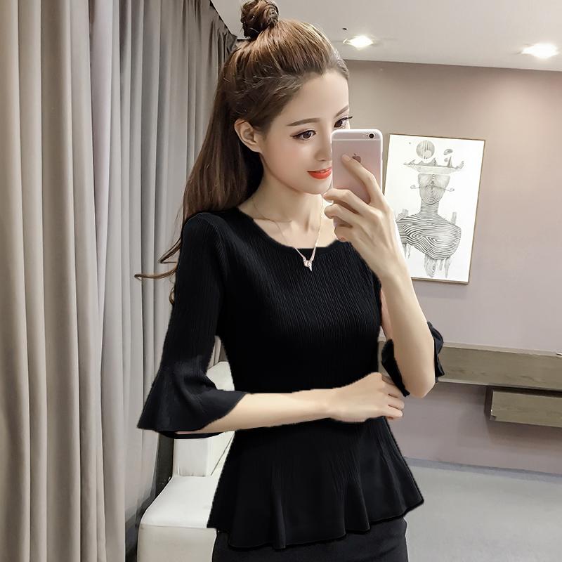 2018新款女装早秋套头针织衫修身打底衫长袖韩版冰丝喇叭袖上衣