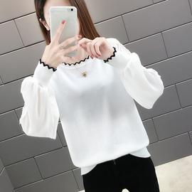 白色长袖t恤女蕾丝网纱拼接袖针织打底衫2020新款夏外穿上衣春秋