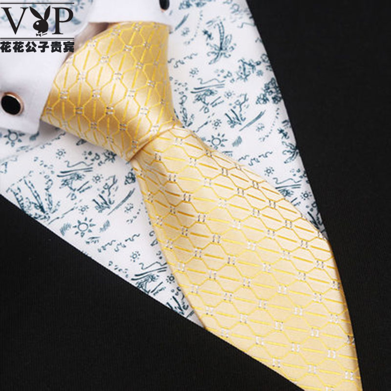 Playboy mens tie zipper gold bridegroom wedding business suit yellow lazy easy to pull