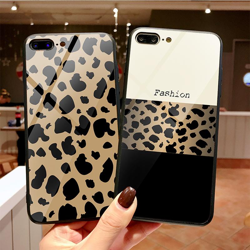 新款豹纹苹果x手机壳7/8plus玻璃壳iphone xsmax保护套6s网红女XR