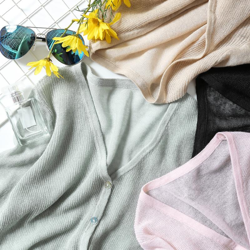 2018秋装新款亚麻外套短款防晒针织衫慵懒风毛衣女外搭开衫女薄款