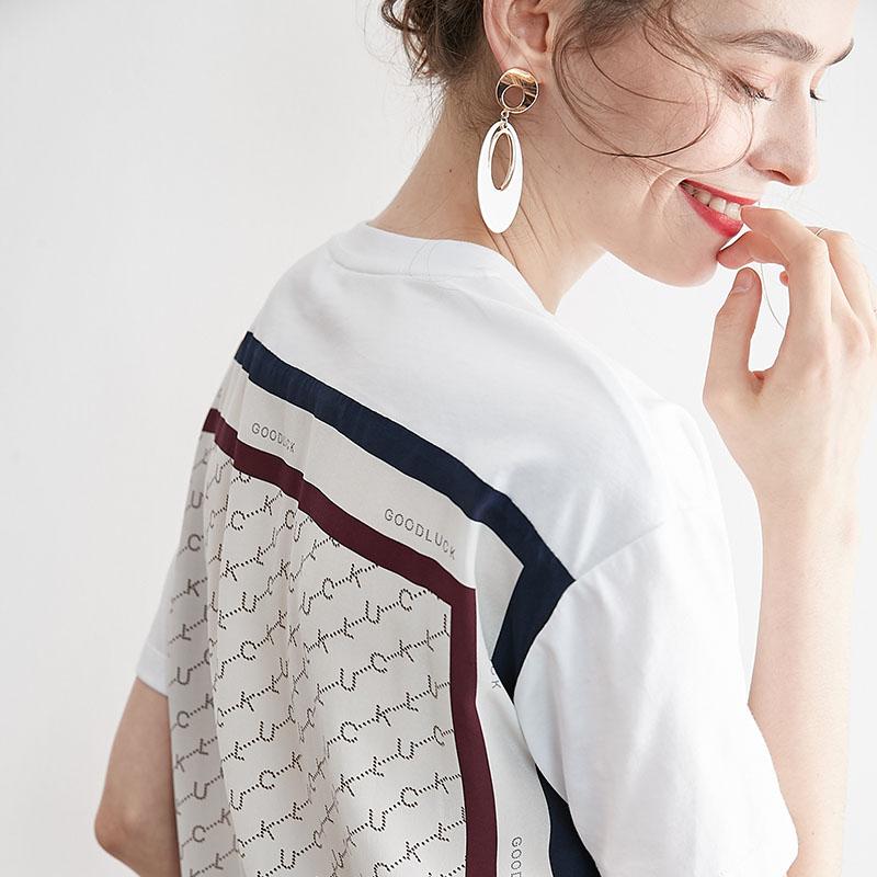 Low key luxury and beauty! Lightweight and elegant splicing mulberry silk silk short sleeve T-shirt womens summer 2020 NEW