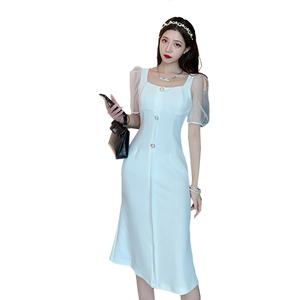 气质女神范白色女夏小香风连衣裙