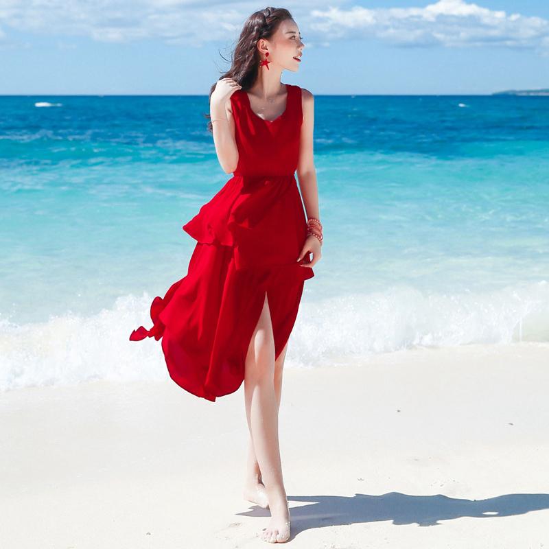 (用5元券)中长高腰修身正红色雪纺开叉沙滩裙