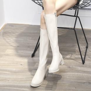 2019秋冬新款 高筒长靴女白色欧洲站及膝皮靴平底骑士靴棉网红靴子