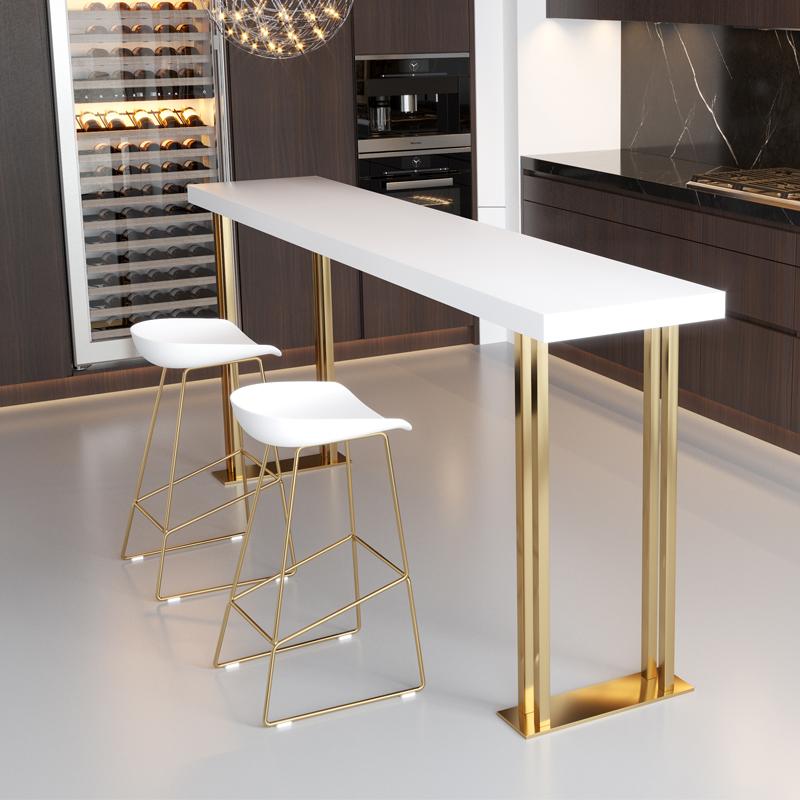 北欧轻奢实木靠墙吧台桌椅组合家用奶茶店高脚隔断长条桌酒吧桌椅