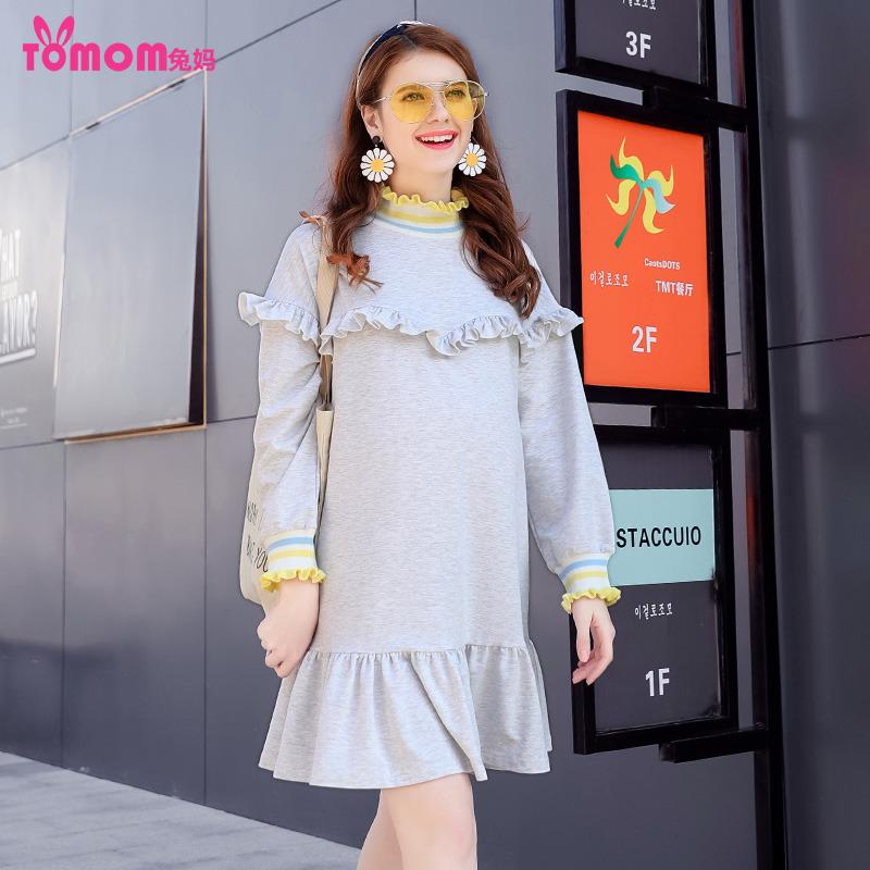 兔妈孕妇装春装2018新款长袖上衣荷叶边下摆裙中长款圆领连衣裙