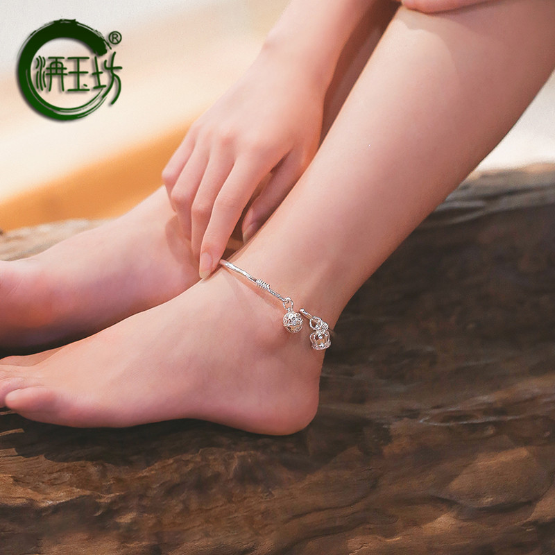 Yufang New Handmade 999 Sterling Silver Bracelet female Silver Anklet adult ring bell opening full silver foot ring solid