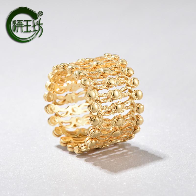 洅玉坊18K黄金收缩戒指变手镯可调节戒指手环两用伸缩手链魔戒指