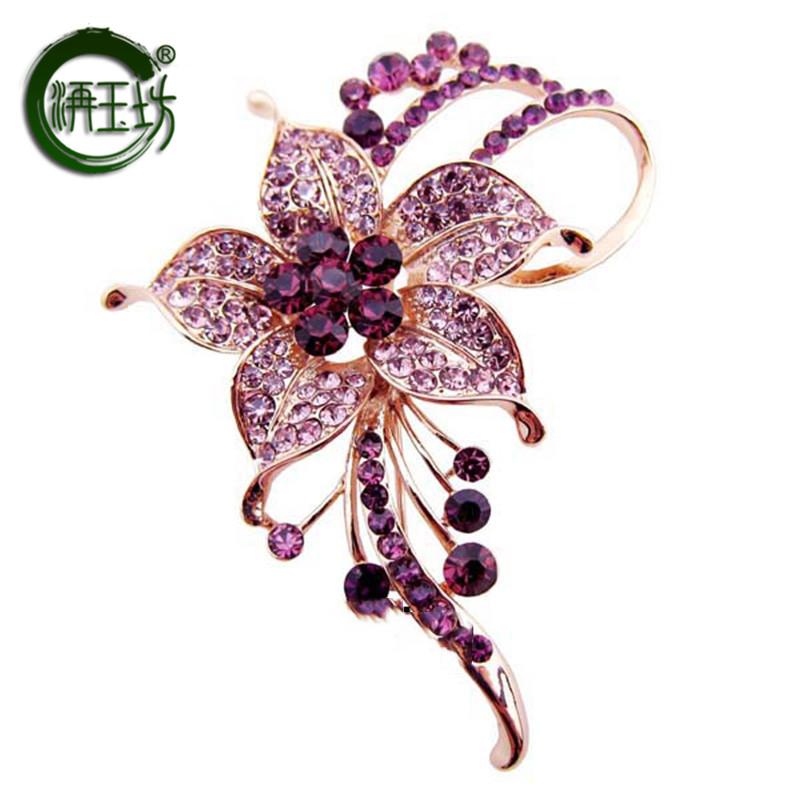 Yufang Qixi gift Fashion Brooch Korean big flower suit Brooch Lady Rose Gold shawl clasp pin