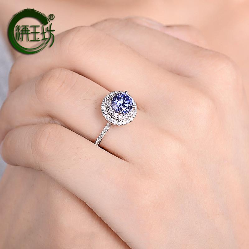 洅玉坊925银戒指女欧美优雅气质合成坦桑石蓝色宝石-坦桑石(洅玉坊旗舰店仅售2067元)