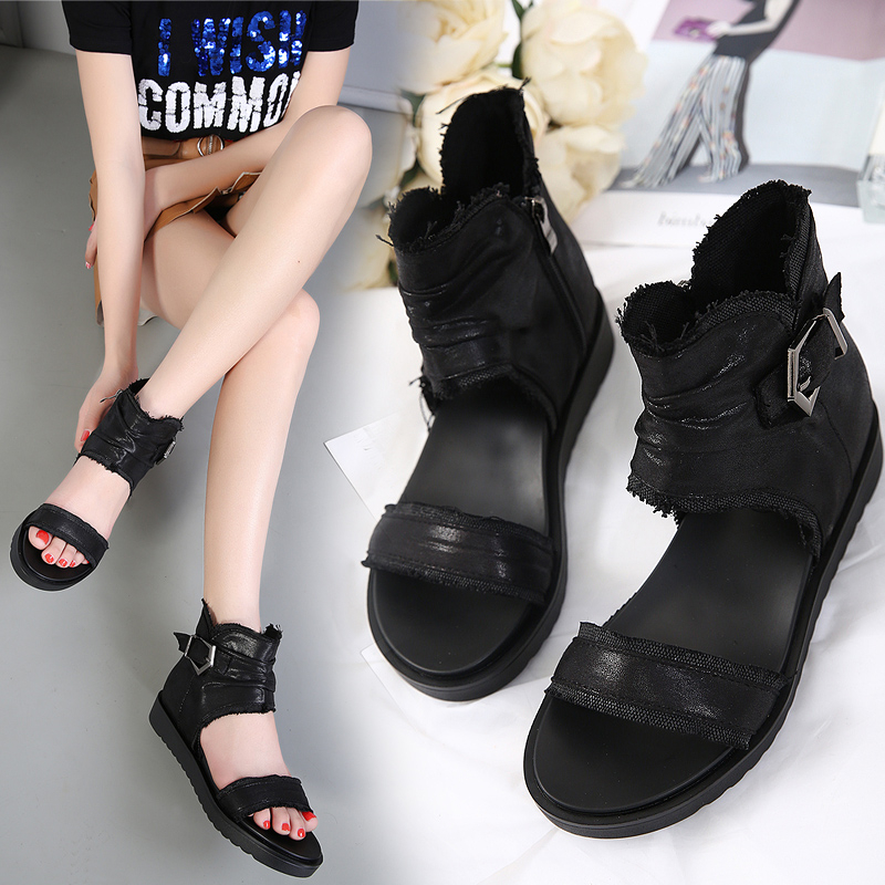 Thick bottom muffin sandals womens simple new slope heel canvas sandals wear zipper sandals with ROMAN SANDALS