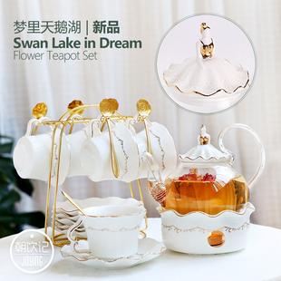 欧式茶具套装 陶瓷英式下午茶花茶杯套装 蜡烛加热煮水果玻璃茶壶