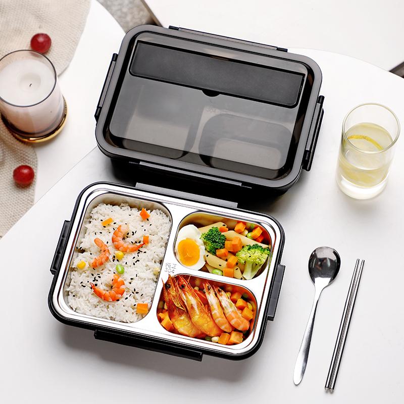 大学生饭盒学生食堂高中饭缸男上班族歺盘分格夏季午餐保鲜便当盒